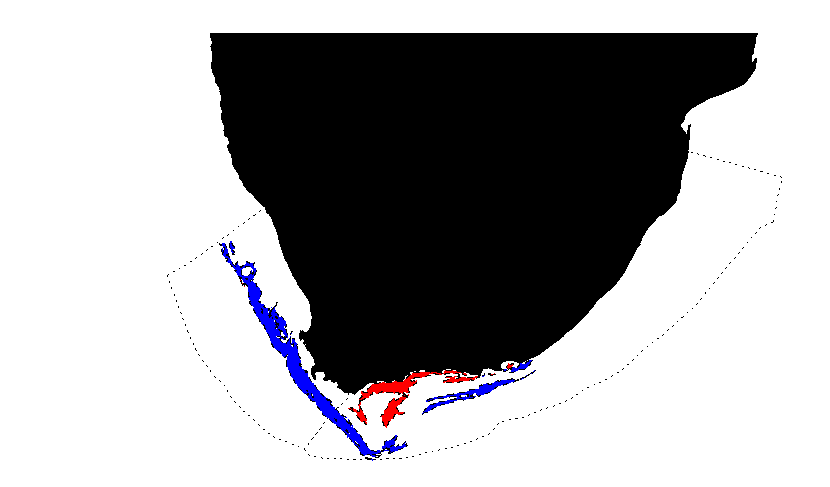 "Figure 1: Reporting areas; the dotted lines indicate the macro-regions (TBP areas) of South Benguela and East Agulhas. The blue and red areas correspond to the offshore and inshore ""trawl frozen footprint"" respectively."